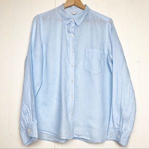 Gap 100% Linen light blue button up blouse
